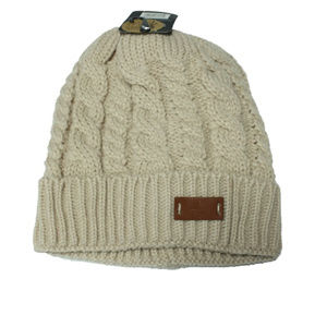 Accessories - Tan Chunky Knit Sherpa Lined Beanie Hat
